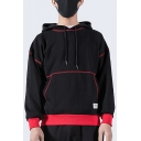 Men's Unique Contrast Piping Warm Thick Long Sleeve Regular Fitted Black Drawstring Hoodie