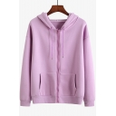 Girl Long Sleeve Solid Zip Placket Leisure Warm Loose Hoodie