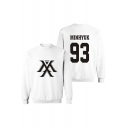 Fashion Letter Number Print Mock Neck Long Sleeve Big Oversize Sweatshirt
