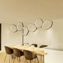 Brown Hexagon Suspended Light Concise Aluminum Multi Light Decorative Hanging Light