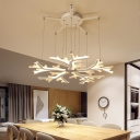 Acrylic Leaf Design Cluster Pendant Light Simplicity 5 Light Drop Light for Bedroom