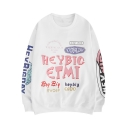 Hot Popular Fashion Funny Cartoon Letter HEY BIG Graffiti Crewneck Loose Fit White Sweatshirt