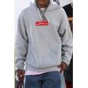 Basic Simple Logo Print Kangaroo Pocket Long Sleeve Oversized Cozy Grey Hoodie for Guys