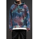 Guys New Stylish Fashion Tie Dye Letter Logo Printed Long Sleeve Relaxed Fit Pullover Hoodie