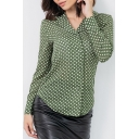 Vintage Green Polka Dot Printed Notched Lapel Collar Long Sleeve Round Hem Casual Button Shirt
