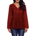 New Trendy V-Neck Button-Embellished Lace Panelled Long Sleeve Pearl Twist Back Blouse