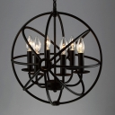 6 Light LED Orb Chandelier in Wrought Iron Industrial Style Restaurant Kitchen Globe Pendant Light in Black