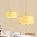 1 Bulb Round Hanging Light Contemporary Fabric Suspension Light in White for Bedroom
