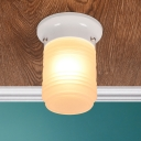 Single Light Cylinder Flush Mount with Ripple Glass Shade Contemporary Ceiling Lamp in White