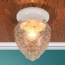 1 Light Conical Flush Mount Light with Textured Glass Shade Contemporary Flush Light in White