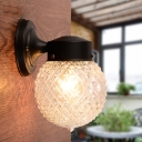 Prismatic Glass Sphere Wall Lamp Modern Chic Single Light Sconce Light in Black for Hallway
