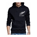 Stylish Letter NEW ZEALAND ALL BLACKS Feather Logo Print Chest Regular Fit Pullover Hoodie