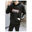 Stylish Letter SPARK Front Unique Check Print Long Sleeve Fitted Hoodie for Juniors