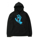Guys Stylish Hand Mouth Printed Long Sleeve Loose Casual Cotton Hoodie