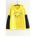 Lovely Cartoon Print Colorblock Flash Long Sleeve Yellow Ear Hoodie