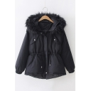 Trendy Fur-Trimmed Hood Long Sleeve Drawstring Waist Warm Thick Cotton Padded Coat