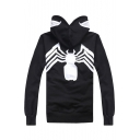 New Stylish Unique Spider Printed Men's Black Long Sleeve Full Zip Fitted Hoodie