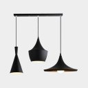 Triple Light Geometric Pendant Lamp Simple Contemporary Metal Decorative Lighting Fixture in Black