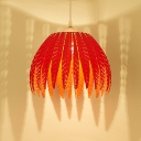 Modern Colorful Foliage Pendant Lamp Metal 1 Light Drop Ceiling Lighting for Sitting Room