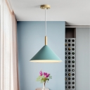 Aluminum Cone LED Suspension Light Modern Colorful 1 Head Lighting Fixture for Dining Table