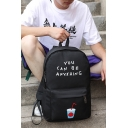 Cool Letter YOU CAN BE ANYKHING Drink Cup Printed Black School Bag Backpack for Juniors