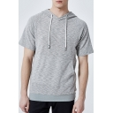 Men's Basic Short Sleeve Simple Plain Fitted Drawstring Hoodie