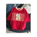 Lovely Cartoon Cat Letter Printed Short Sleeve Round Neck Cotton T-Shirt