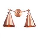 Copper Finish Horn Wall Light Vintage Retro Style Metal 2 Heads Wall Mount Light for Porch