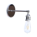 Chrome Finish Open Bulb Wall Lamp Industrial Iron Single Light Wall Light Fixture for Staircase