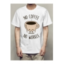 Humorous Letter NO COFFEE NO WORKEE Cartoon Coffee Cup Print White T-Shirt for Men