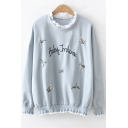 Fashion Letter Floral Embroidered Ruffled Trim Long Sleeve Pullover Sweatshirt