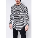 Fashion Striped Print Round Neck Long Sleeve Round Hem Fitted Basic T-Shirt