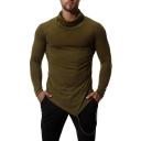 Men's Fashion High Neck Simple Plain Slant Cut Hem Draped Ribbon Slim Fit Long Sleeve T-Shirt
