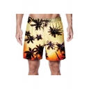 Summer Coconut Palm Print Men's Drawstring Waist Beach Yellow Swim Shorts with Pocket