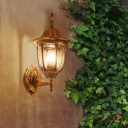 Lantern Style Small Wall Lamp Industrial Loft Style Metallic Single Light Wall Light in Rust for Hallway