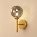 Minimalist Global Wall Sconce Smoke Glass Single Head Wall Light Fixture in Gold Finish for Bedroom
