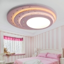 3 Tiers Oval Shape LED Ceiling Light Nordic Style Pink Wooden Lighting Fixture for Girls Bedroom