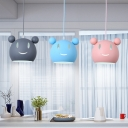 Cartoon Mouse Suspended Light Baby Kids Room Metallic 1 Bulb Pendant Light in Blue/Gray/Pink