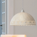 Fabric Shade Dome Pendant Light Rustic Style 1 Light Suspension Light in White for Bedroom