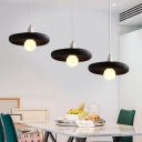 Round Shade 1 Head Suspended Light Black/Gray/White Metallic Pendant Lamp for Dining Room