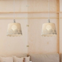 1 Head Bucket Hanging Light with Flower Design American Retro Knit Suspension Light in White