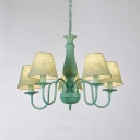 3/5 Heads Conical Hanging Lamp Retro Style Chandelier with Green Fabric Shade for Living Room