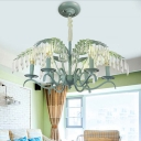 Candle Chandelier with Leaf Decoration Luxurious Crystal 6/8 Lights Hanging Light in Green