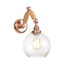Arm Adjustable Wall Lighting with Global Glass Shade Concise Simple 1 Bulb Lighting Fixture in Rose Gold
