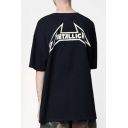 Cool Letter Print Back Street Style Casual Oversized Black T-Shirt