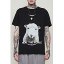 Stylish Animal Sheep Letter HEAL THE WORLD Print Basic Short Sleeve Loose T-Shirt