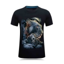 Fashion 3D Leopard Printed Men's Short Sleeve Slim T-Shirt