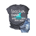 Fashion Letter TEACHER SHARK Printed Short Sleeve Loose Casual Grey T-Shirt