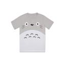 Cartoon Cute Totoro Pattern Basic Round Neck Grey T-Shirt