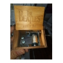 Vintage Letter THE BEATLES Carved Khaki Wooden Hand Cranked Music Box